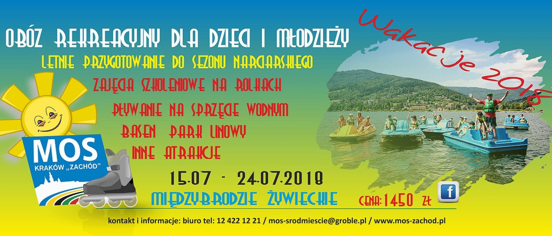 Zapraszamy naobóz rekreacyjny wMiędzybrodziu Żywieckim 15.07 – 24.07.2018